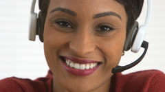 Smiling African American customer service representative - stock footage