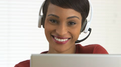 Close up of African American customer service representative - stock footage