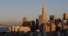 Ultra HD 4K Sunset Light Spectacular Cityscape San Francisco Headquarter Office Stock Footage