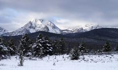 Sawtooth mountain range deep winter landscape idaho national recreation area Stock Photos