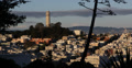 Ultra HD 4K Aerial View Sunset Coit Tower San Francisco Skyline Crowded Houses Footage