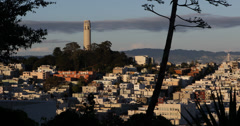 Ultra HD 4K Aerial View Sunset Coit Tower San Francisco Skyline Crowded Houses Stock Footage