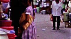 Bahrain public market families vintage film 1960 HD D001 Stock Footage
