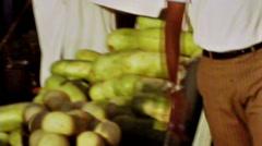 Bahrain public market fruits vegetables vintage film 1960 HD D001 Stock Footage