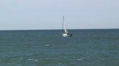 Sailboat Bobs Open Ocean Seas Outdoors Recreation Travel Transportation Fun Stock Footage