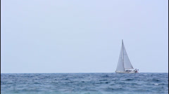 Stock Video Footage of Sailboat, turbulent sea