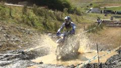 Extreme Motorbike, Racing Motorcyclist, Motorcross, Motorcycle Race in Mountains Stock Footage
