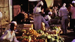 Bahrain public market selling fruit vegetable vintage film 1960 HD D001 Stock Footage