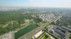 Cityscape with Ostankino park and Ostankinskiy pond Stock Footage