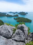 rock and group of islands, ang thong national marine park, samui, thailand - stock photo