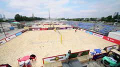 Several game courts on Poklonnaya Hill during tournament - stock footage
