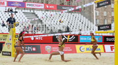 Brazil women play volleyball in Country Quota at tournament Stock Footage