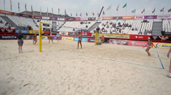 Area for tournament Grand Slam during match of beach volleyball Stock Footage