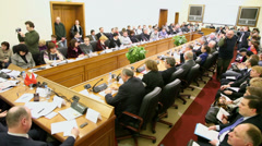 Hall with members of Round table Elections in Moscow on 4 March Stock Footage