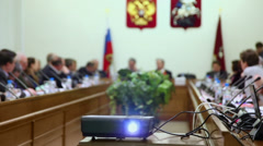 Projector runs during Round table Elections in Moscow Stock Footage