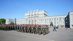 Parade rehearsal before Day of Victory in Great Patriotic War Stock Footage
