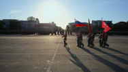 Stock Video Footage of Soldiers with flag march on parade rehearsal