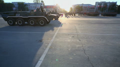 Armored personnel carriers ride during parade rehearsal Stock Footage