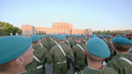 Stock Video Footage of Soldiers stand with rifles during parade rehearsal