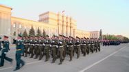 Stock Video Footage of Soldiers with guns marching on parade rehearsal