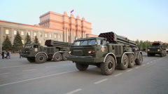 MLRS 9K57 - Hurricane ride by square during parade rehearsal Stock Footage