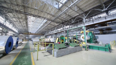 Large workshop with equipment for aluminum rolling Stock Footage