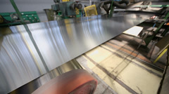Sheet of aluminum plate in machine of rolling mill Stock Footage