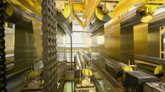 Rolls of aluminum extend on special machines of rolling mill Stock Footage