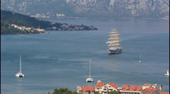 A large white sailing ship Stock Footage