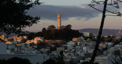 Ultra HD 4K Iconic Telegraph Hill Coit Tower Sunset Light San Francisco Skyline Stock Footage