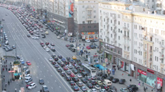 Day traffic on Tverskaya street in Moscow, Russia. - stock footage