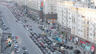Stock Video Footage of Day traffic on Tverskaya street in Moscow, Russia.