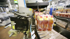 Bottles with light beer moving on conveyor on labeling line Stock Footage