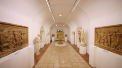 Hallway with sculptures at House of Dolgorukov palace Stock Footage