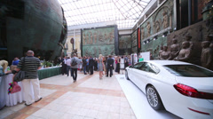 White car on display at Russian Academy Stock Footage