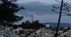 Ultra HD 4K Telegraph Hill Coit Tower Dusk Twilight Light San Francisco Skyline Stock Footage