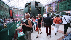 Guests are coming before fashion show at Russian Academy Stock Footage