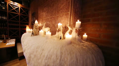 Unusual interior design with candles and wax at Blackberry Cafe Stock Footage