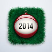 Christmas ball with the date New Year 2014 - stock illustration