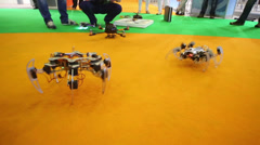 Inventor demonstrating movement of spider robot Stock Footage