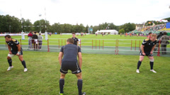 Rugby players training on stadium at Europe Championship Stock Footage