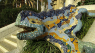 Stock Video Footage of Spain Catalonia Barcelona Park Parc Guell Chameleon, Salamander sculpture