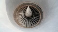 Slowly rotating metal turbine of a modern aircraft Stock Footage