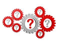Question-marks in gearwheels Stock Illustration