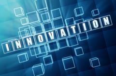 blue innovation in glass blocks - stock illustration