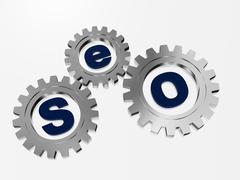 Stock Illustration of seo in silver gearwheels.