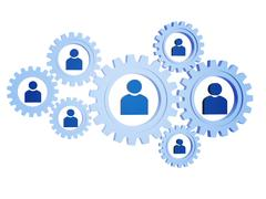Stock Illustration of person signs in blue gearwheels.