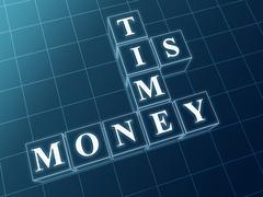 time is money in blue glass blocks. - stock illustration