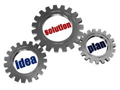 Idea, solution, plan in silver grey gearwheels. Stock Illustration