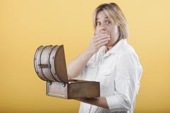 Woman discovered inside the box Stock Photos